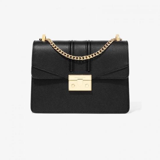 Charles Keith Chain Flap Shoulder Bag Black