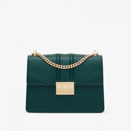 Charles Keith Chain Flap Shoulder Bag Dark Green