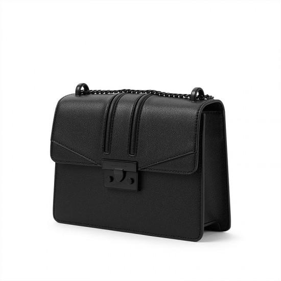Charles Keith Chain Flap Shoulder Bag Ultramatteblack