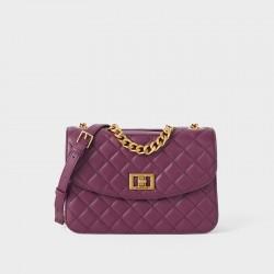 Charles Keith Chain Shoulder Bag Diamond Bag Purple