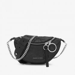 Charles Keith Chain Shoulder Messenger Bag Chest Bag Black