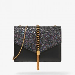 Charles Keith Fashion Tassel Shoulder Bag Black
