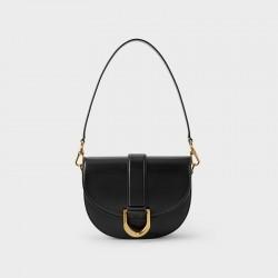 Charles Keith Horseshoe Buckle Saddle Bag Black