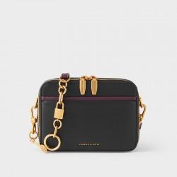 Charles Keith Key Embellished Shoulder Messenger Bag Camera Bag Black